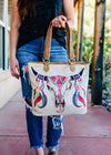 Steer Skull Canvas Tote Handbag on model