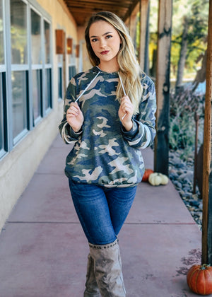 Camo Long Sleeve Stripe Hoodie on blonde model with denim jeans