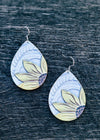 Sunflower Leather Teardrop Earrings