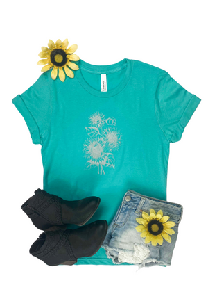 Teal & Silver Sunflower Short Sleeve Graphic Tee