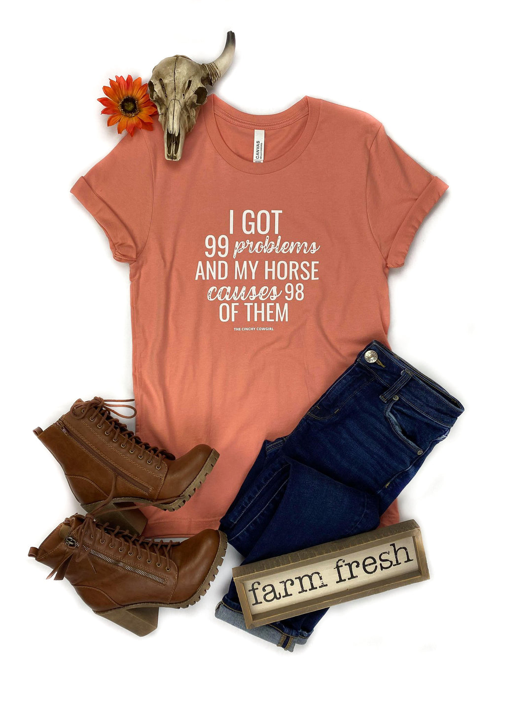 Sunset Problems Horse Short Sleeve Tee