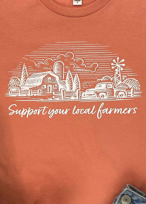 Sunset Support Your Local Farmers Short Sleeve Tee