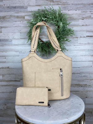 tan swirl concealed carry handbag with wallet