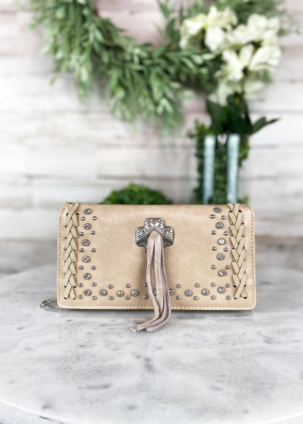 Tan Concho Tassel Wallet, rhinestone and studded detail
