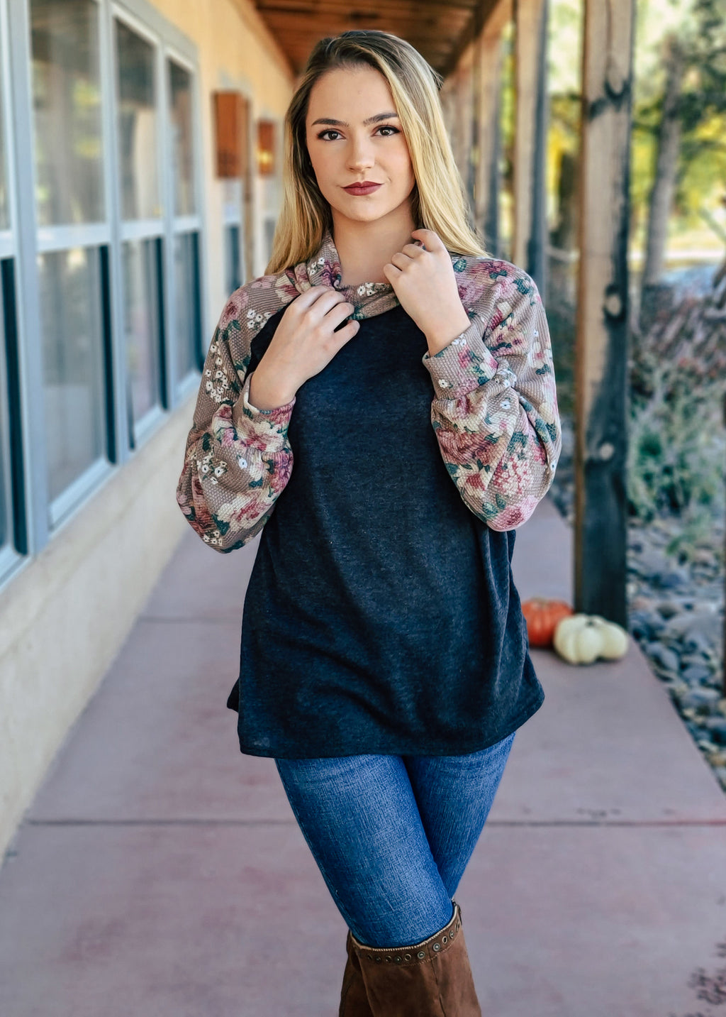 Taupe & Charcoal Floral Cowl Neck Top on blonde model with denim jeans and brown boots