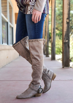 Taupe Knee High Tall Boots