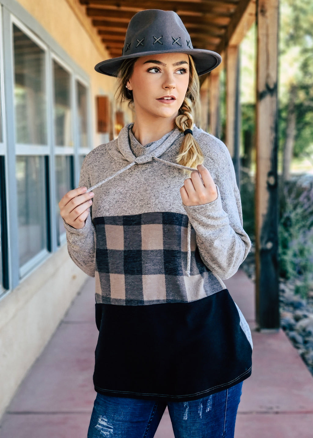 Taupe Plaid Color Block Long Sleeve Top on model with hat