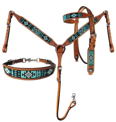 Teal & Black Beaded Aztec 3 Piece Headstall Set