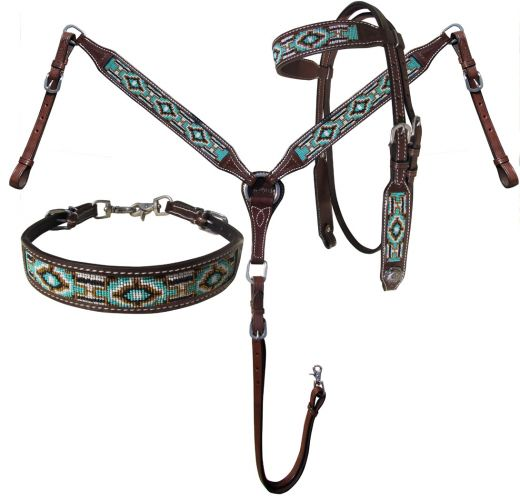 Teal & Gold Beaded 3 Piece Headstall Set