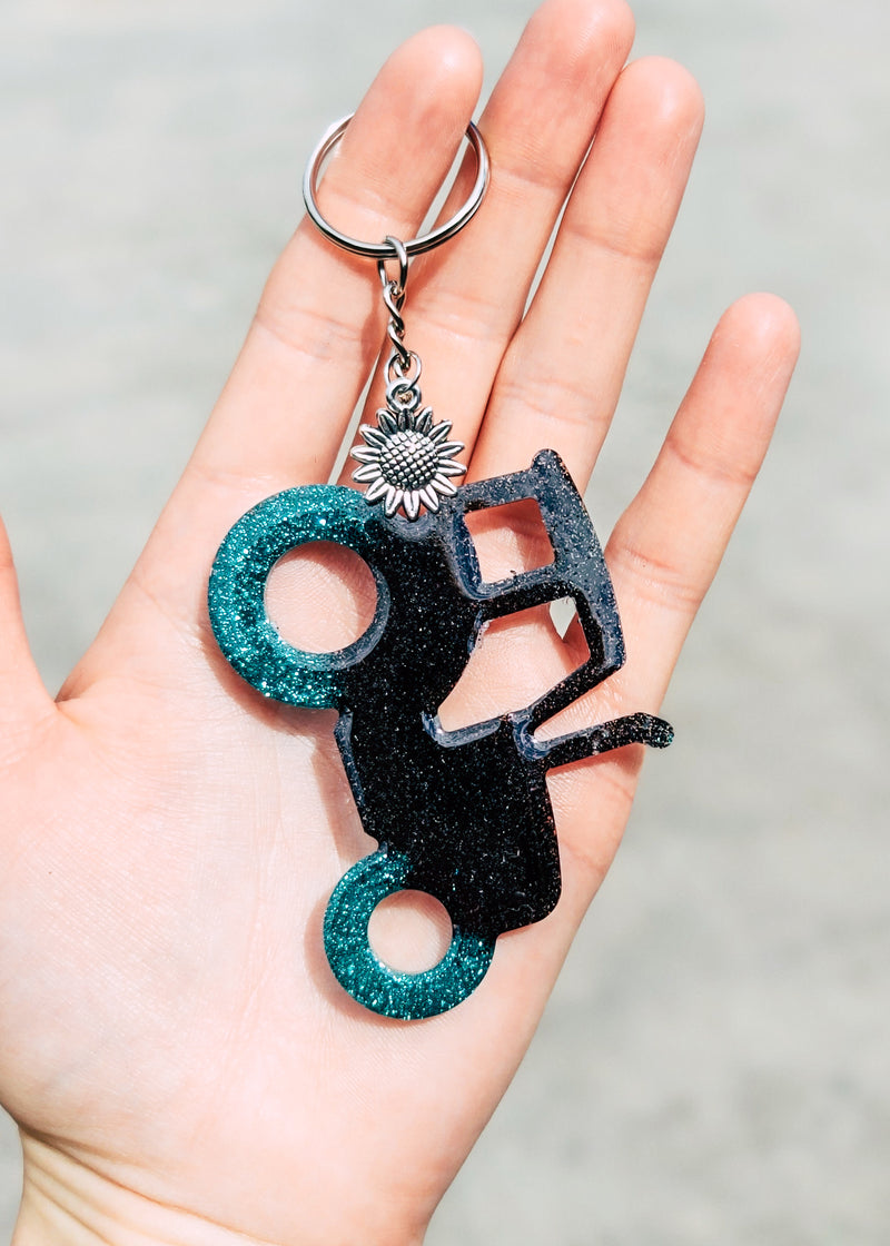 Teal & Black Tractor Keychain
