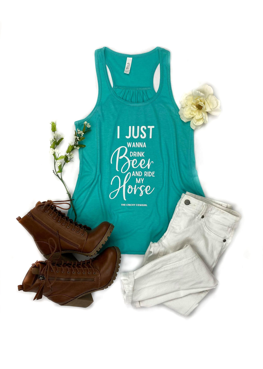 Teal Drink Beer & Ride My Horse Tank