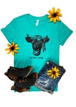 CLOSEOUT- Teal Hippie Cow Short Sleeve Graphic Tee