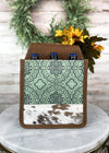 Teal Pattern Cowhide 6 Bottle/Can Caddy