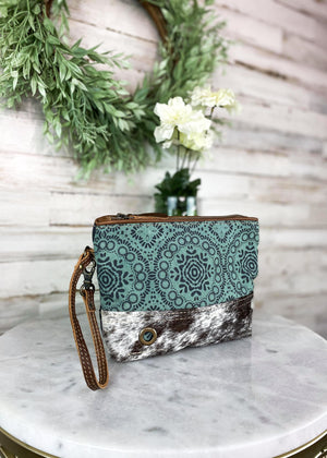 Teal Pattern Cowhide Pouch/Wristlet