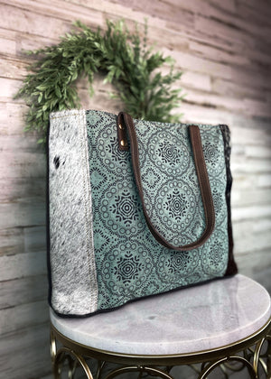 Teal Pattern Cowhide Tote Handbag