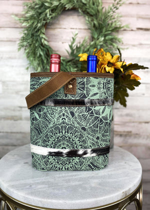 Teal Pattern Cowhide 2 Bottle Caddy