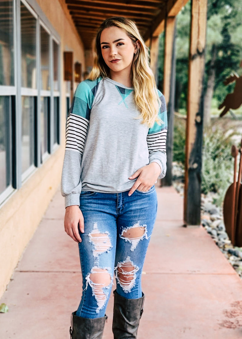Teal Plaid & Stripes Long Sleeve Top