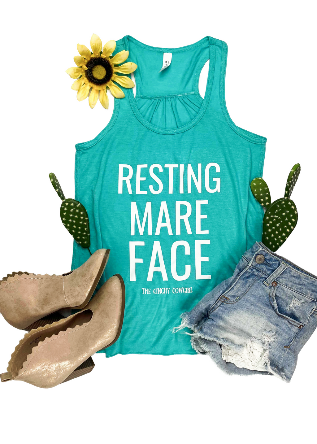 Teal Resting Mare Face Tank Top