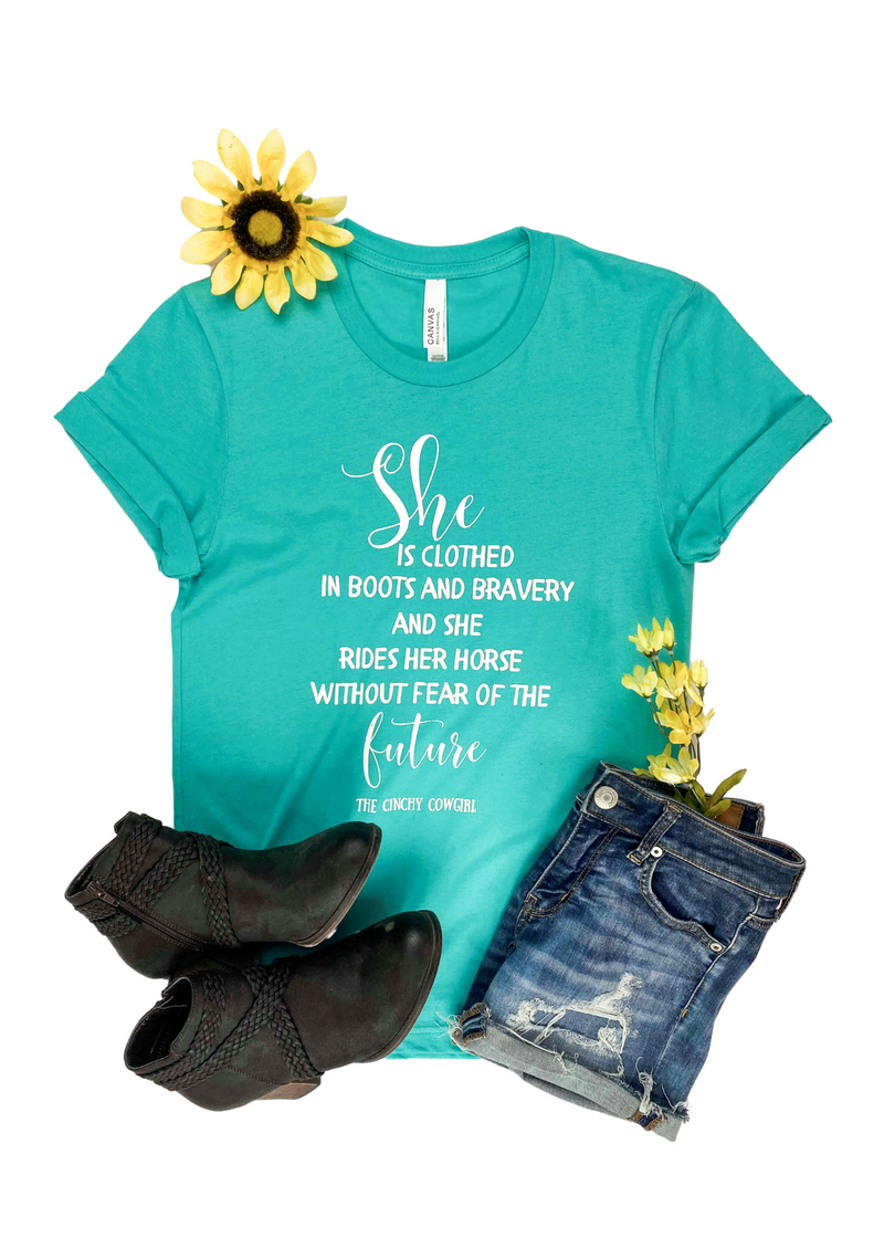 Teal She is Clothed Short Sleeve Graphic Tee