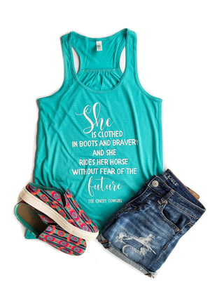 Teal She is Clothed Tank Top