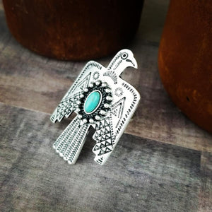 Natural Stone Thunderbird Turquoise Ring