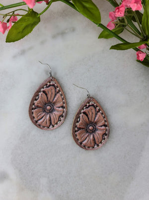 Brown Leather Flower Teardrop Earrings