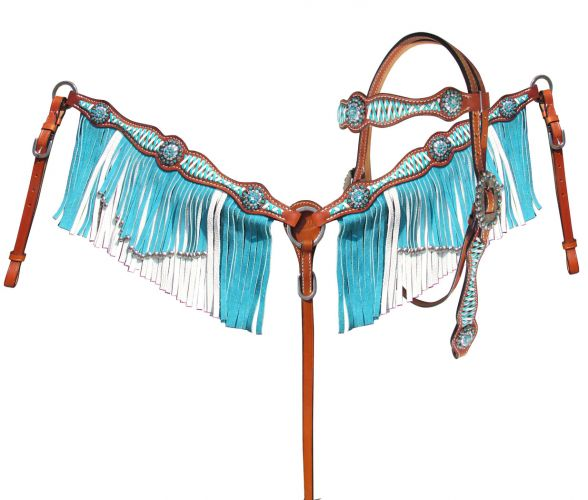 Turquoise & White Leather Laced Headstall Set