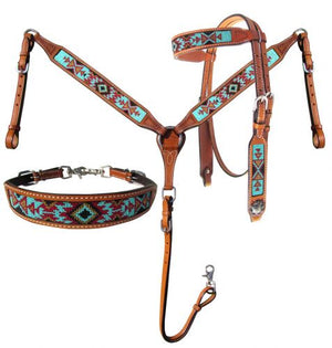 Teal & Brown Beaded 3 Piece Headstall Set