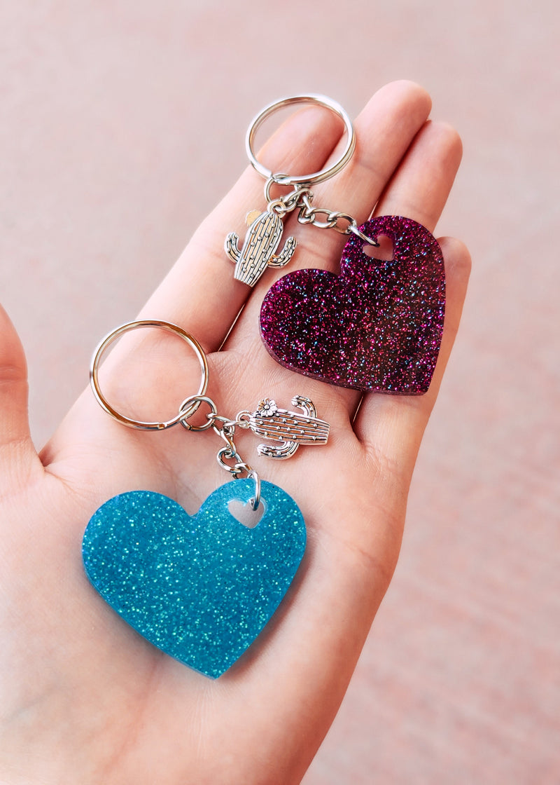 Turquoise & Magenta Heart (set of 2) Keychain