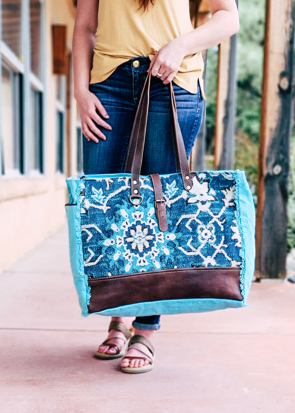 Turquoise Abstract Weekender Bag on model