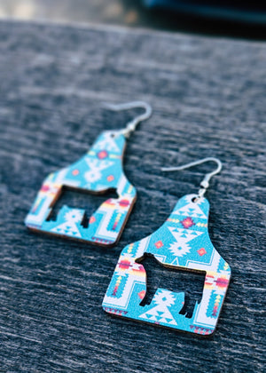 Turquoise Aztec Wood Ear Tag Earrings