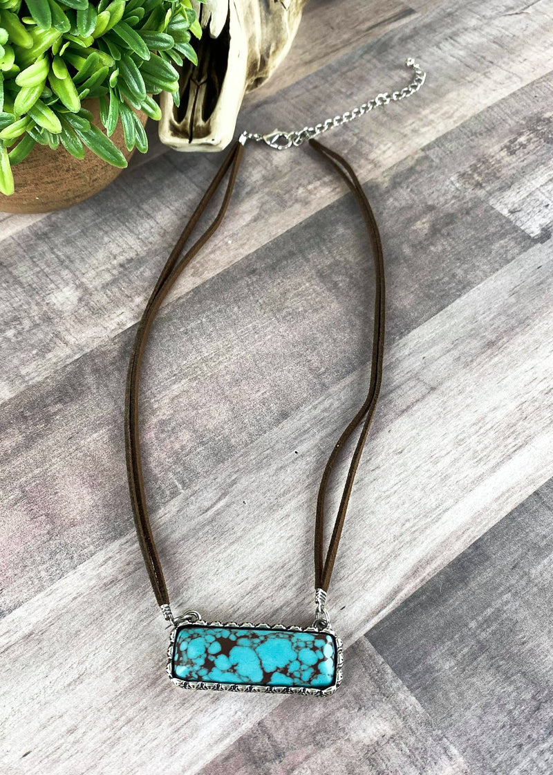 Turquoise Bar Leather Necklace