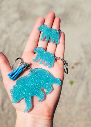 Turquoise Mama Bear & 2 Minis (Set of 3) Keychain