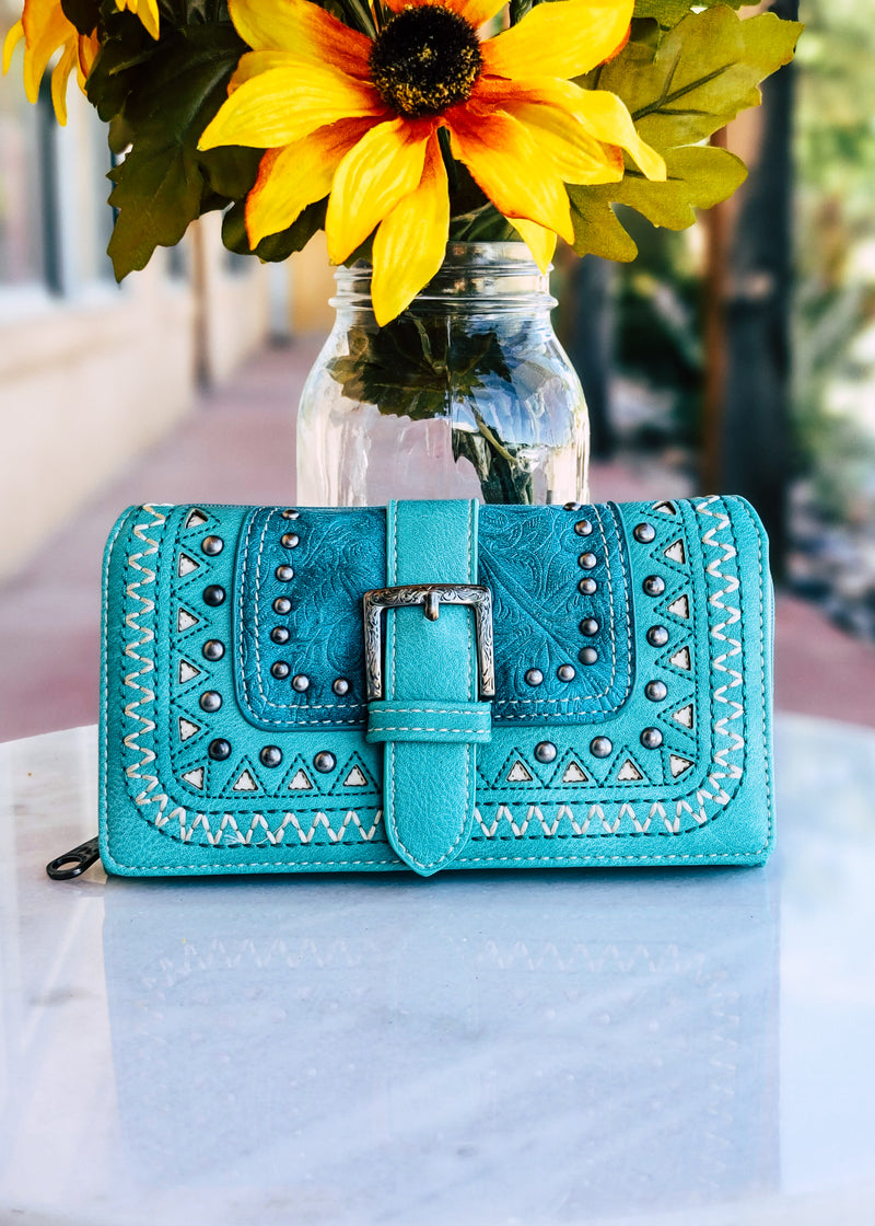 Turquoise Western Buckle Wallet shot outside