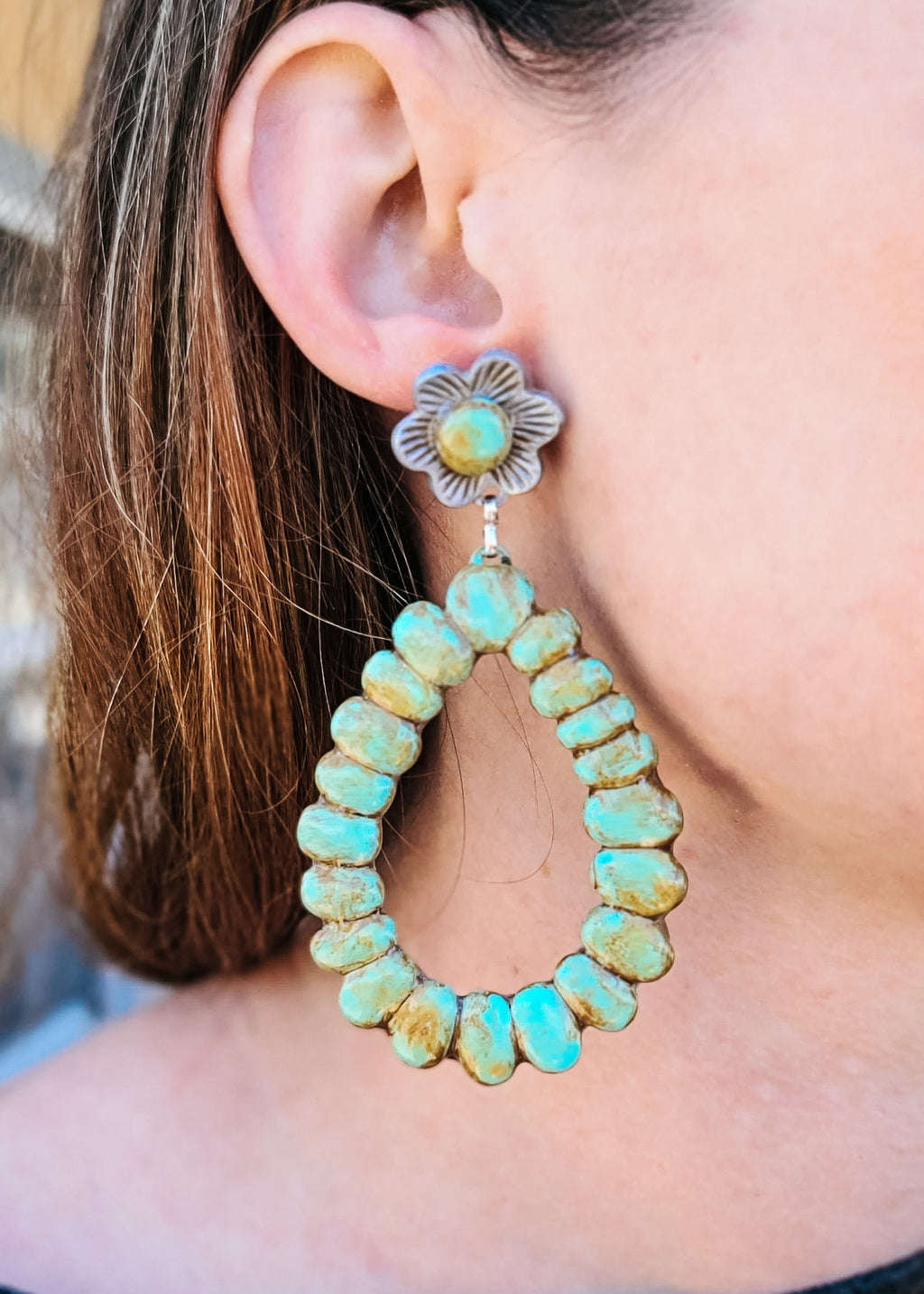 Distressed Turquoise Floral Teardrop Earrings