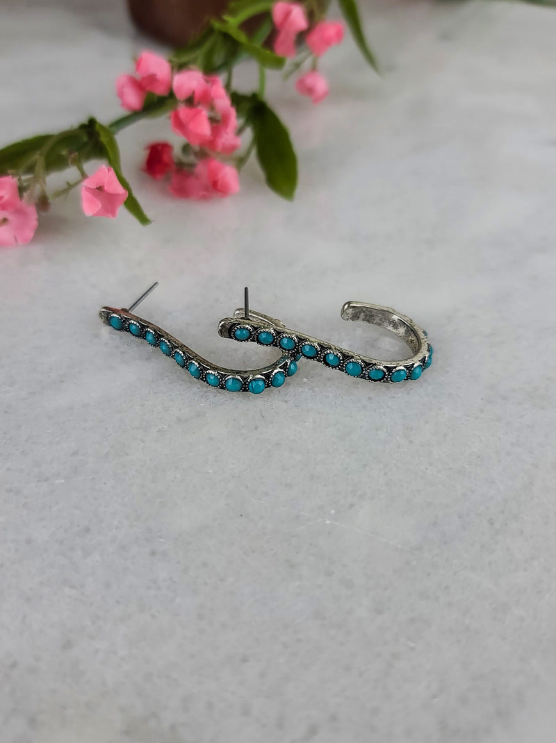 Turquoise Half Hoop Earrings