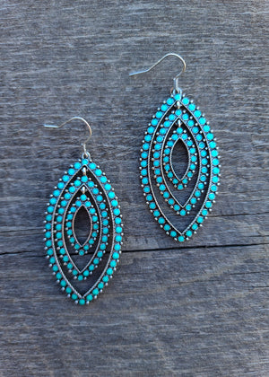 Turquoise Western Oval Layered Earrings