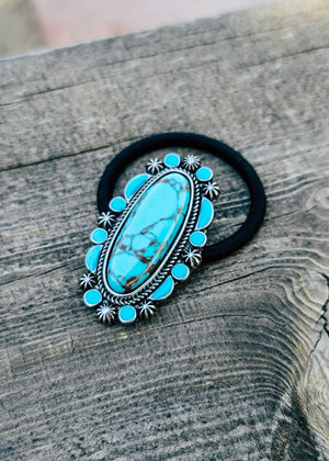 Turquoise Oval Western Hair Tie