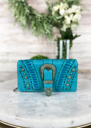 Turquoise Patina Buckle Wallet, longhorn detail on buckle with studded side detail