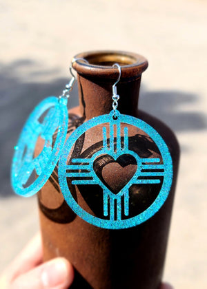 Turquoise Southwestern Heart Earrings [Sterling Silver Hoops]