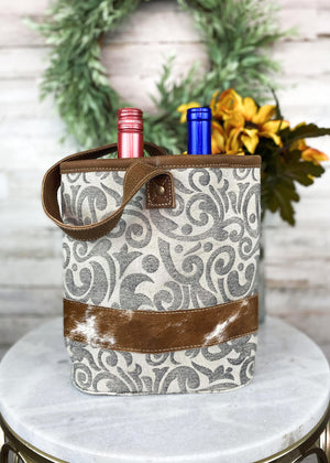 Vintage Paisley Cowhide 2 Bottle Caddy