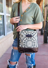 Vintage Pattern Crossbody Handbag on model