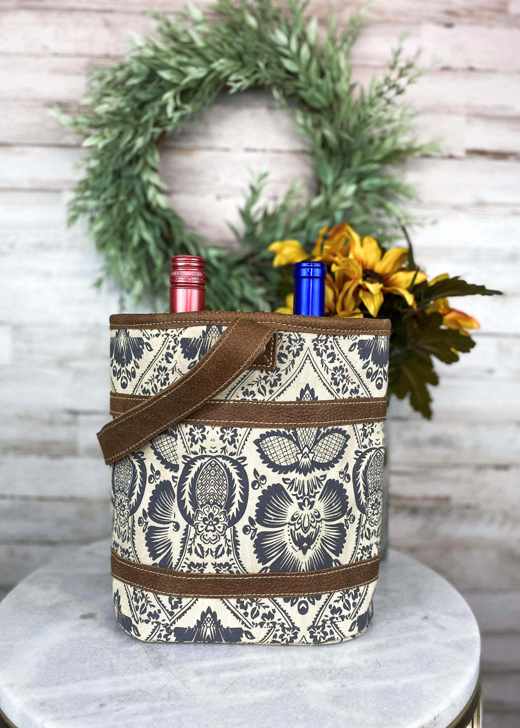 Vintage Floral 2 Bottle Caddy