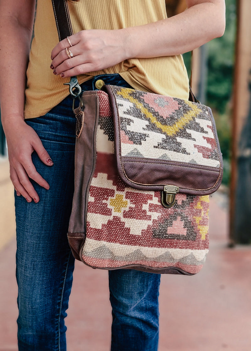 Warm Aztec Messenger Handbag on model