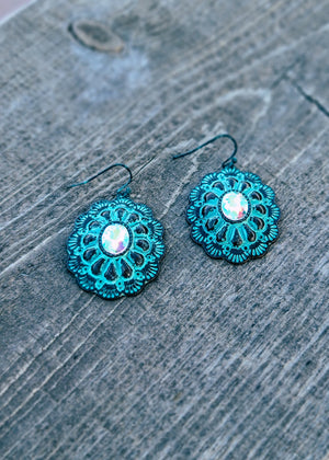 Western Turquoise Concho Earrings