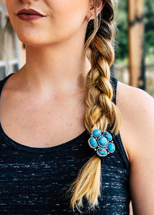 Western Concho Stone Hair Tie on blonde model