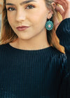 Western Turquoise Concho Earrings on model