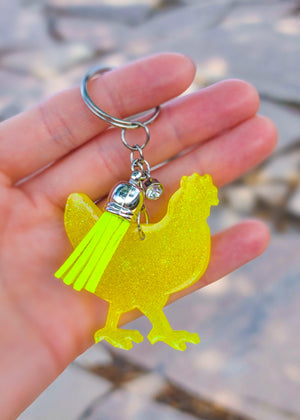 Yellow Glitter Chicken Keychain