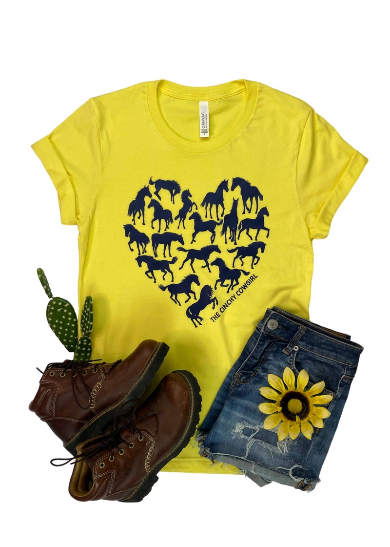 Yellow Horse Heart Short Sleeve Tee