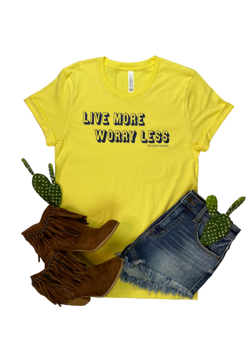 Yellow Live More Worry Less Short Sleeve Graphic Tee